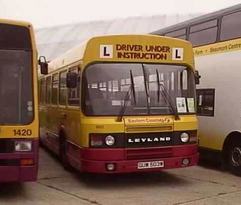 First Eastern Counties Leyland National 2 driver trainer 9503